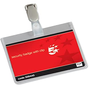 5 Star Office Name Badges Security Landscape with Plastic Clip 60x90mm (Pack 25):Autobit
