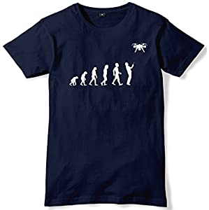 Daytripper Clothing Evolution of Drone Mens Funny Unisex T-Shirt-Large-Navy