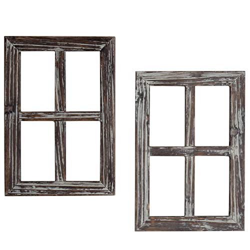 MyGift Rustic Torched Wood 4-Pane Window Frame Farmhouse Decorative Wall Accent Decor, Set of 2