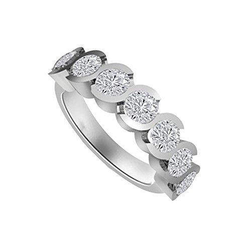 1.05ct G/SI1 Diamante Half Eternity Anello da Donna con Rotonda Brillante diamanti in 18kt Oro bianco