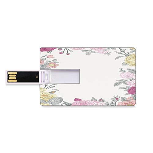 8 GB Unidades flash USB flash Decoración Shabby Chic Forma de tarjeta de crédito bancaria Clave comercial U Disco de almacenamiento Memory Stick Marco de jardín de rosas silvestres Vintage colorido bo