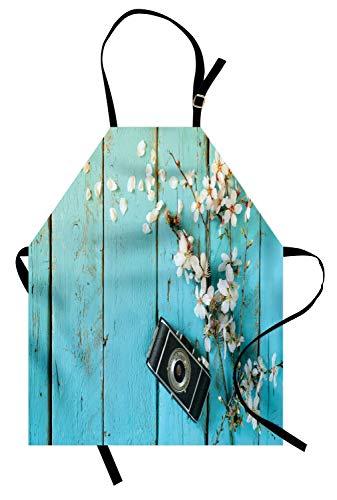 ABAKUHAUS Bois Rustique Tablier, Printemps Blanc Cerise, Produit Unisexe avec Col Réglable pour Cuisine et Jardinage, Bleu pâle et Multicolore