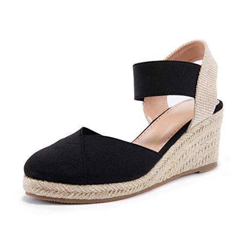 Coutgo Womens Wedge Espadrille Sandals Closed Toe Platform Elastic Band Slingback Slip on Summer Shoes
