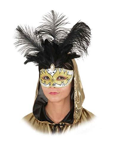 narrenkiste O46055 Gold-weiß Feder schwarz Damen Herren Venezianische-Barock-Rokoko Maske Halbmaske