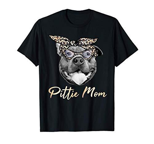 Pittie Mom Cute Pitbull Mama Leopard Print Pit Bull Gift T-Shirt