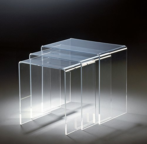 HOWE-Deko Hochwertiger Acryl-Glas Dreisatztisch, klar, 44 x 29,5 cm, H 42,5 cm und 39 x 29,5 cm, H 40,5 cm und 34 x 29,5 cm, H 38,5 cm, Acryl-Glas-Stärke 8 mm