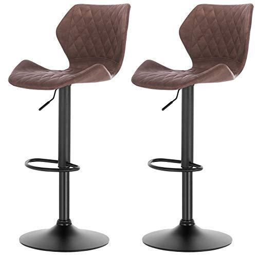 eSituro SBST0288 2 x Barhocker Küchenstuhl Barstuhl, höhenverstellbar & 360° drehbar, 2er Set Bar Hocker aus hochwertigem Kunstleder(Antiklederoptik), Dunkelbraun