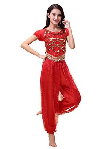 Grouptap Bollywood Indian Plus Size bharatanatyam Danza del Vientre para Mujer niñas Vestido de Traje de 2 Piezas Rojo/Azul/Amarillo Conjunto de Traje de kuchipudi