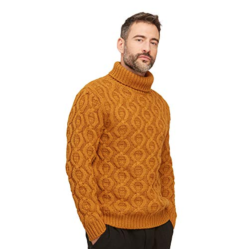 Pullovers heren trui coltrui van wolmix kleur mosterd geel
