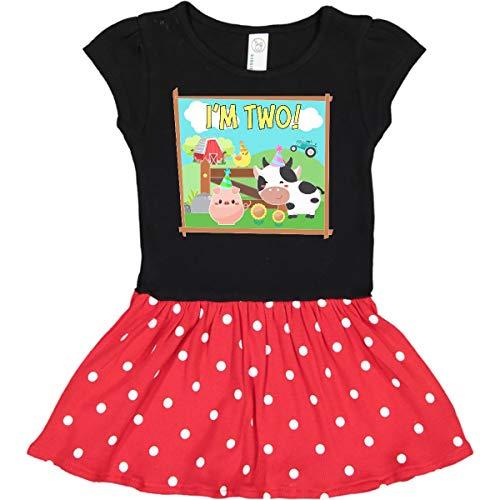 inktastic I'm 2 Farm Toddler Dress 2T Black & Red with Polka Dots 3652b