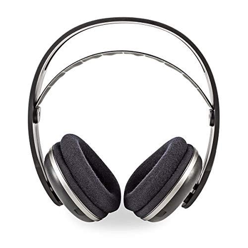 Nedis - Draadloze Koptelefoon - Radiofrequentie (RF) - Over-Ear - Oplaadstation - Elastische hoofdband - 100 m bereik - 2x AAA batterijen - 1 x 3,5 mm aansluiting - Zwart/Zilver