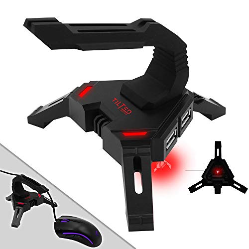 Tilted Nation Gaming Mouse Bungee Cord Holder with 4 Port USB Hub For PC & XBOX Wired Mice - Pro Esports Drag-Free Cable Management - Red LED