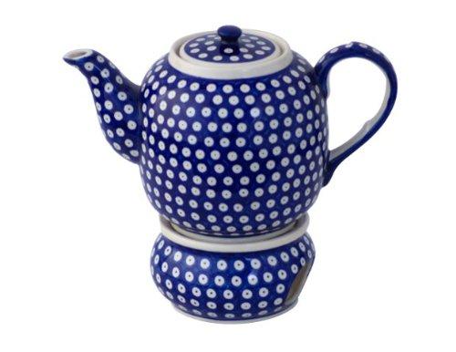 Original Bunzlauer Keramik Teekanne mit Stövchen 1.50 Liter im Dekor 42