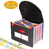 26 Pockets Accordian File Organizer/Plastic Expanding File Folder A4 Letter Size/Portable Expandable Filling