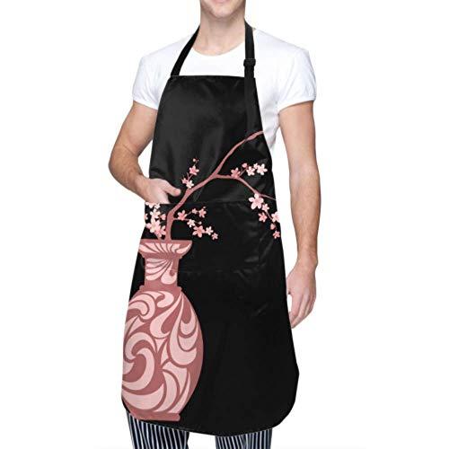DUKAI Unisex-Schürze, wasserdicht, langlebig, verstellbar, blühende Sakura-Zweige Traditionelle japanische Vasen-Kochschürzen Restaurant-Schürze zum Geschirrspülen Grill-Restaurant-Garten