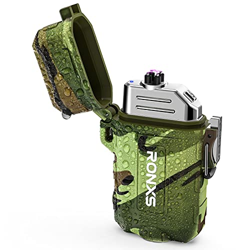 RONXS Lighter, Waterproof Electric Lighter with Flashlight Windproof Open Faced Dual Arc for Outdoor Camping Survival USB Rechargeable Plasma Lighter Men Gift Gadgets(Camouflage)