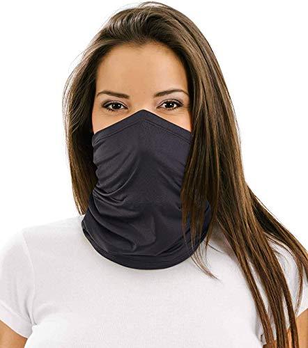 12 in 1 Multifunctional Neck Gaiter,Face Scarf Headwear for Unisex Men & Women Black