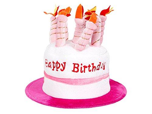 Alsino Happy Birthday Geburtstagshut Hut Geburtstagstorte Mütze Kerzenhut mit Melodie , Variante wählen:62/1022 pink