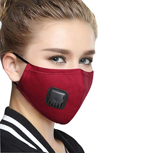wecan 2pcs Face Mouth Masks with Breath Valve, 4 Layers PM2.5 Activated Carbon Filter Insert Balaclavas for Cycling Running, Anti Pollution Reusable Dust Mask Red Women