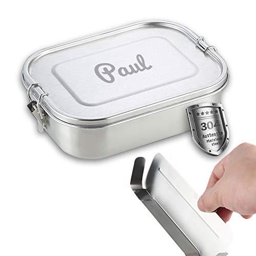 Isonio Edelstahl Lunchbox mit Lasergravur, inkl. Abtrennung und Dichtring, Brotdose Bento Box mit Namensgravur (M, Edelstahl)