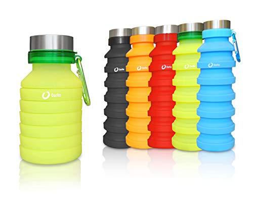 Darko - Botella de silicona plegable, 550 ml con gancho, ecológico, sin BPA, hermético, senderismo, camping, correr, senderismo, a prueba de golpes
