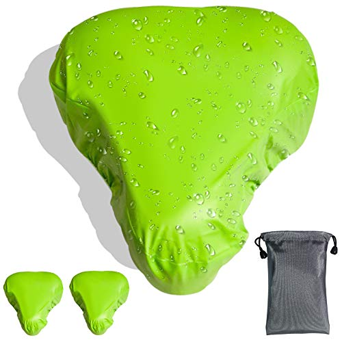 GeeRic 3X Bike Seat Cover, Waterproof Bike Saddle Covers Bicycle Saddle Rain Dust Cover with with Transport Bag Green