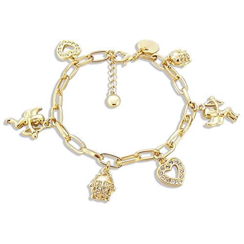 nobel-schmuck Bettelarmband Schutzengel mit Kristallen von Swarovski® Gold