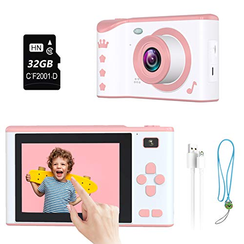 ieGeek Kids Camera,Kids Digital Camera 1080P 2.8 Inch Rechargeable Touch Screen Camera Toddler Toys Video Recorder Gifts for Kids 3-12 with 32G Memory Card