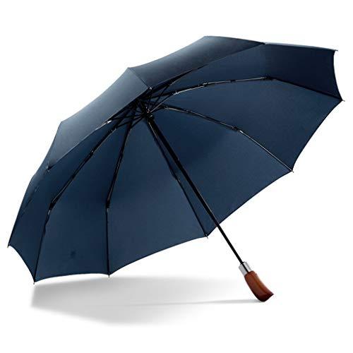 Parapluie entièrement automatique Ouvrir un parapluie classique double canopée Ventilation Eductionnement Parapluie en bois coupe-vent (Couleur: D) dongdong (Color : B)