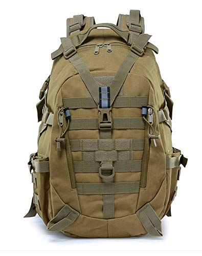 WANLIAN Mochila táctica, 35 litros/Mochila Militar, Mochila de Tela Oxford Impermeable de Color Caqui, Bolsa Molle para Caza, Camping y Senderismo, Viajes Militares