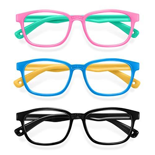 Blue Light Glasses for Kids 3 Pack Anti Glare & Eye Strain Glasses Computer TV Phone Tablets UV Protection Glasses for Kids Boys Girls Age 3-12(Pink Green + Blue Yellow + Black)