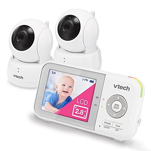 "VTech VM923-2 Video Baby Monitor with 19-Hour Battery Life, 2 Cameras, 1000ft Long Range, Pan-Tilt-Zoom, Enhanced Night Vision, 2.8""Screen, 2-Way Audio Talk, Temperature Sensor and Lullabies"