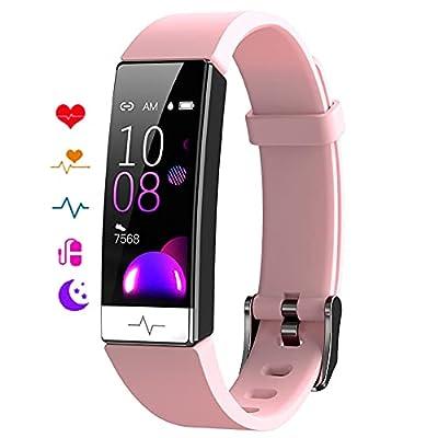 EBAKIN Fitness Tracker with Blood Oxygen SpO2 Blood Pressure Heart Rate Sleep Monitor IP68 Waterproof Activity Tracker HRV Health Watch for Men Women Teens (Pink) from EBAKIN