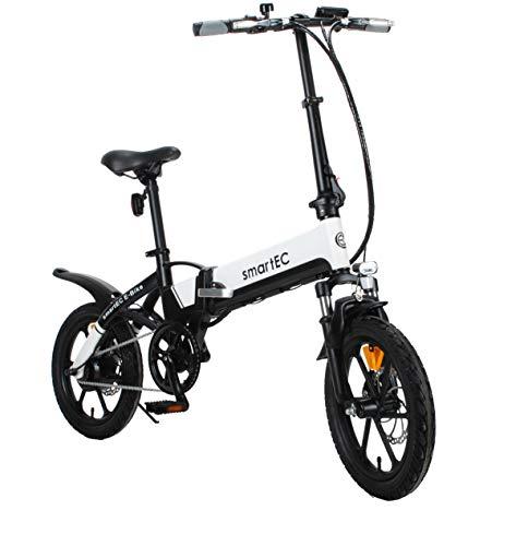 smartEC Camp-Mini Klapprad Mini E-Bike, 16 Zoll, Hinterrad-Nabenmotor, Fahrunterstützung 25 km/h, Samsung Li-Ion-Akku 36V/250 Watt, Anfahrhilfe, Reichweite 60 km (Weiß)