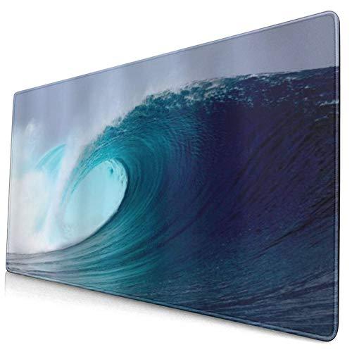 HUAYEXI Alfombrilla Gaming,Ola de Surf Tropical del océano en un mar ventoso Indonesia Sumatra Impresión de Imagen,con Base de Goma Antideslizante,750×400×3mm