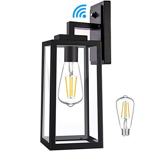 Dusk to Dawn Sensor Outdoor Wall Light, Energy Saving LED Bulb Included, Porch Light Outdoor Light Fixtures Wall Mount, 100% Anti-Rust Aluminum IPX6 Waterproof Exterior Light Fixture for Patio