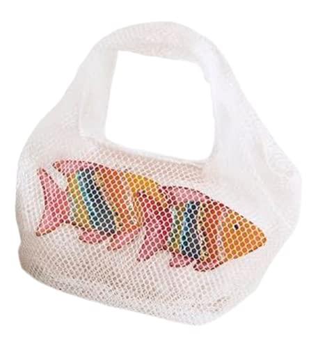 Generico KONTESSA Borsa da donna piccola a mano in rete con decorazione pesci colorati, bianco. Interamente realizzata a mano