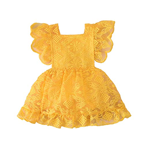Baby Girl Lace Dress, Princess Dress Tulle White Party Wedding Summer Dress Clothes (Yellow, 0-3Months)
