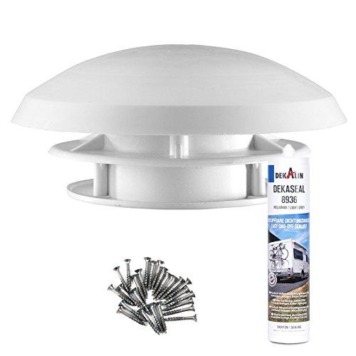 Dakventilator camper 20 cm wit dakdikte 20-45 mm boring 90 mm insectengaas + decolin afdichtmiddel + schroeven