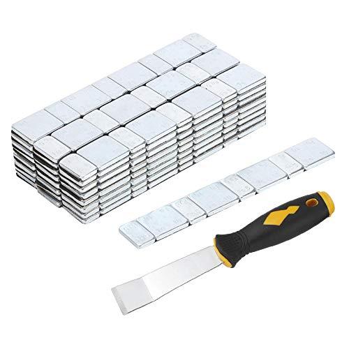 EBTOOLS Rad Weight Balance Adhesive, 5 g + 10 g x 25 Strips 60 g Klebstoff Radnaben-Ausgleichsblöcke kleben auf dem Reifenreifen-Gewichtsausgleich(With Shovel)