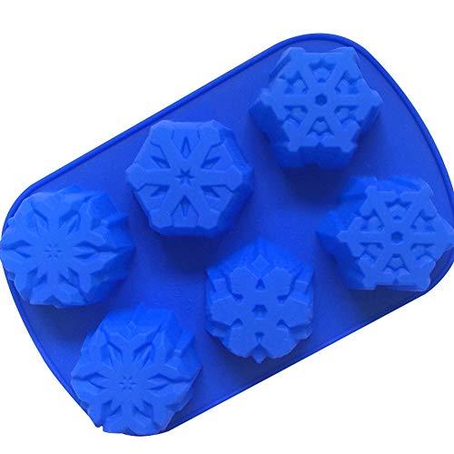 Cosanter Moule en Silicone Noël Grand Flocon Moule À Cake Conçu pour Noël(Bleu)