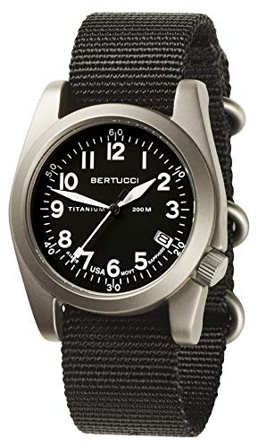 Bertucci A-11T Americana 13330 - Reloj de pulsera para hombre (correa de nailon, esfera de cuarzo negra)