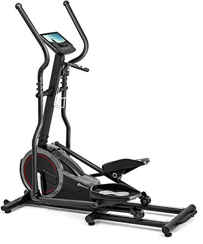 HS HOP-SPORT Vélo elliptique HS-070C Buzz Gris | Cardio Training | Capteurs de la fréquence Cardiaque | Poids d'inertie 18kg | Max 150kg | Freinage électromagnétique