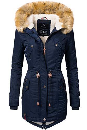 Navahoo Damen Winter Mantel Winterparka La Viva Blau Gr. XL