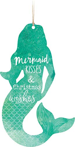 Not Branded Mermaid Kisses and Christmas Wishes Nautical Blue 4.5 x 2.7 Wood Ornament