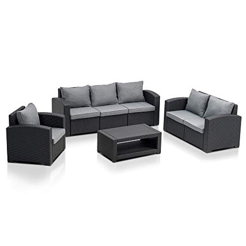 MCombo 7pcs Patio Furniture Set All-Weather Outdoor Sectional Sofa Rattan Pattern Patio Conversation Set w/Seat Cushions 6050-700 (Grey)