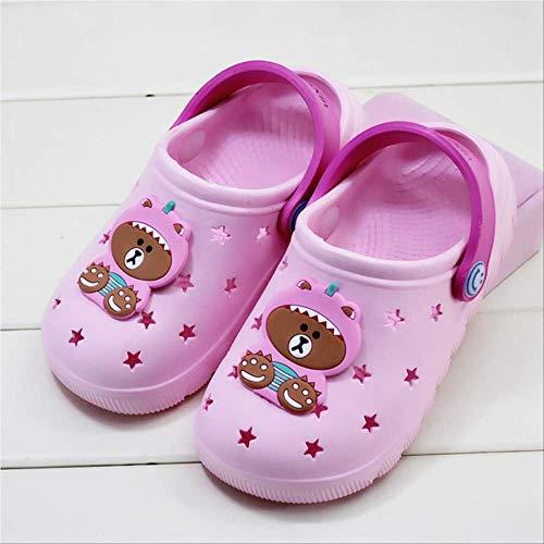 ZJBKX Strandschuhe Kinder süße Bär Hausschuhe Licht Baby Wasser Schuhe Sommer Sandalen und Hausschuhe Outdoor-Schuhe 10.5 Einlegesohle 16.8cm Rosa