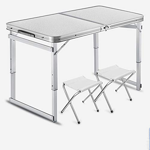 JCCOZ-T Small Folding Table Portable Table for Camping, Adjustable Height with Folding Chairs Indoor Outdoor Table for Picnic, BBQ, Beach, Party, Traveling T (Color : White)