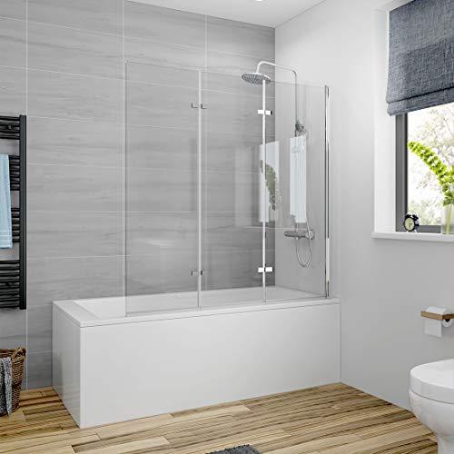 Meykoers Duschabtrennung 120x140cm Duschwand für Badewanne, Dreifalten Duschwand Badewannenaufsatz mit 6mm Nano Easy Clean Glas
