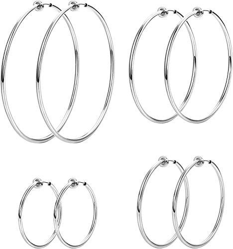 Milacolato 4 paia di orecchini a cerchio con clip in acciaio inossidabile per donna Orecchini a cerchio finti Orecchini a cerchio a molla per orecchie non forate